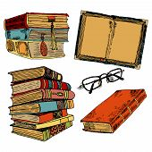 picture of sketch book  - Vintage books stack sketch decorative icons set with glasses isolated vector illustration - JPG