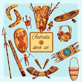 image of aborigines  - Australia native aboriginals colored sketch decorative icons set isolated vector illustration - JPG