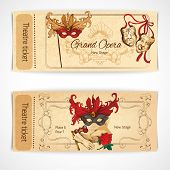 picture of comedy  - Theatre drama opera stage sketch tickets set with decoration isolated vector illustration - JPG