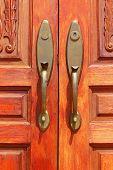 Door Knobs As Background Wooden Brown.