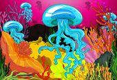 Illustration of jelly fish underwater