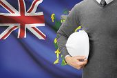 Engineer With Flag On Background - Pitcairn Group Of Islands