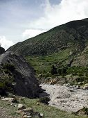 Roaring River In Dry Himalayan Landscape