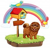 Illustration of a dog standing under a rainbow