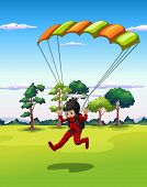 Illustration of a man playing hang glider
