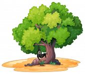 Illustration of a gibbon hanging under a tree