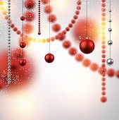 Abstract background with red christmas defocused baubles. Vector illustration.