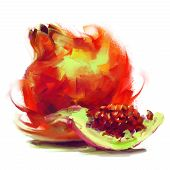 Drawing Pomegranate With A Slice