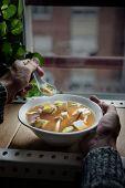 Japanese Miso Soup With Tofu And Shimeji Mushrooms.