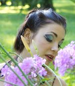 Garden Posing Caucasian Girl