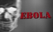 Red Word Ebola On Black And White Background