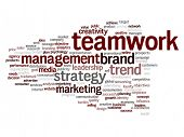Concept or conceptual abstract success or teamwork marketing word cloud or wordcloud isolated on white background