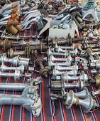 Vintage Bike Parts On Display At L'eroica, Italy