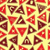 Colorful Danger Signs Types Seamless Pattern Eps10