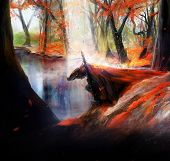 picture of kneeling  - Fantasy warrior knight in red hood kneel on a autumn lake background illustration - JPG