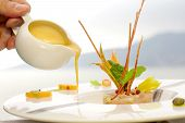 Serving Dish With Lampuga Tartare With Celery And Peach Cream Seasoning