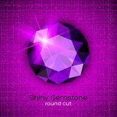 Gemstone round shaped on textured background