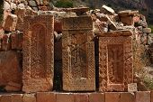 three khachkars in the monastic complex Noravank