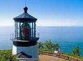 pic of mear  - Cape Meares Lighthouse on the Oregon Coast on a Clear Sunny Day - JPG