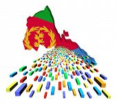 stock photo of eritrea  - Eritrea map flag with containers illustration - JPG