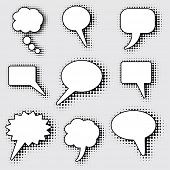 speech bubbles with dotted halftone shadow