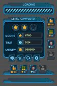 Interface buttons set for space games or apps. Vector illustration. Easy to edit. Isolated on gray