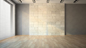 stock photo of louvers  - Empty room with louvers 3D - JPG