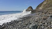 picture of rogue  - Stormy rogue waves at Point Mugu and distant Channel Islands as seen from Thornhill Broom Beach La Jolla Canyon Ventura county CA - JPG