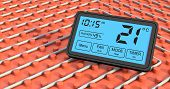 foto of floor heating  - close up view of a floor heating system with a programmable thermostat celsius  - JPG