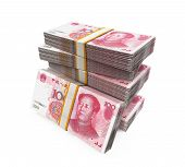 foto of yuan  - Stacks of Chinese Yuan Banknotes isolated on white background - JPG