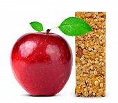picture of roughage  - Muesli Bar with apple isolated on white background - JPG