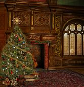 stock photo of chalet interior  - Vintage christmas room in an ancient palace - JPG