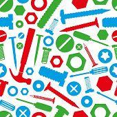 foto of nail-design  - hardware screws and nails with tools color seamless pattern eps10 - JPG