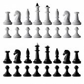 foto of chess piece  - Full black and white chess set isolated on white with all the chess pieces neatly arranged in rows - JPG