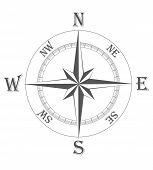 picture of longitude  - ancient wind rose vector illustration isolated on white background - JPG