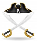 stock photo of pirate sword  - pirate hat tricorn and sword vector illustration isolated on white background - JPG
