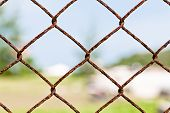 stock photo of chain link fence  - Chain fence for private area focus on  Chain - JPG