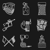 pic of paintball  - White flat line icons vector collection of paintball equipment and accessory on black background - JPG