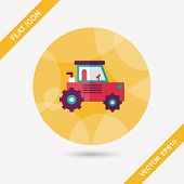 stock photo of excavator  - Transportation Excavator Flat Icon With Long Shadow - JPG