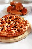 picture of cherry pie  - Delicious homemade cherry pie with a lattice - JPG