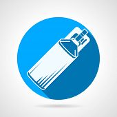 image of paintball  - Blue circle flat vector icon with white silhouette bottle with co2 for paintball marker on gray background with long shadow - JPG