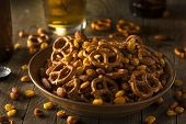 stock photo of mixed nut  - Seasoned Pub Snack Mix with Nuts and Pretzels - JPG