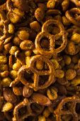 image of mixed nut  - Seasoned Pub Snack Mix with Nuts and Pretzels - JPG