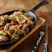 picture of liver fry  - Liver baked with mushrooms - JPG
