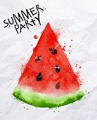 image of seed  - Poster summer party as a slices of watermelon and seeds goes party on background with crumpled paper - JPG