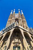 stock photo of gaudi barcelona  - Sagrada Familia in Barcelona in Spain in a summer day - JPG