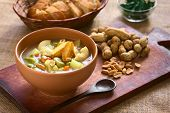 stock photo of vegetable soup  - Bowl of traditional Bolivian Sopa de Mani  - JPG