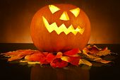 image of scary face  - Halloween pumpkin head jack lantern with scary evil faces spooky holiday - JPG