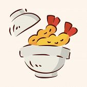 pic of high calorie foods  - Fast Food Fried Shirmp Flat Icon Elements - JPG