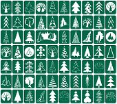 stock photo of conifers  - white icons conifers and deciduous trees on green background stylized - JPG